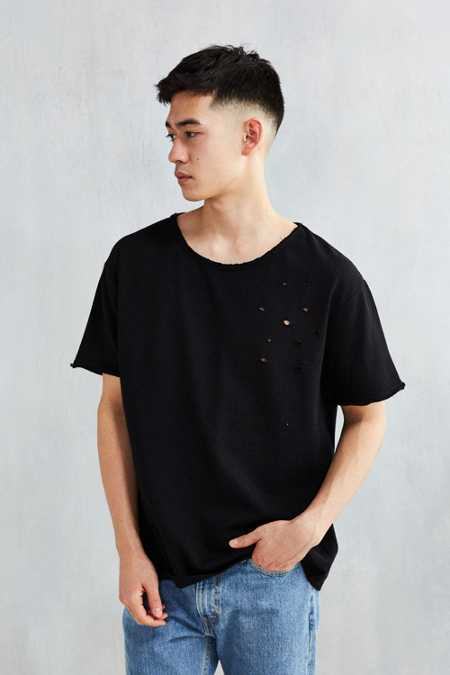Feathers Destroyed Raw Hem Terry Tee