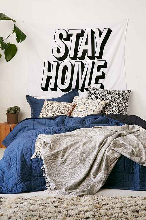 Stay Home Text Tapestry,BLACK & WHITE,ONE SIZE