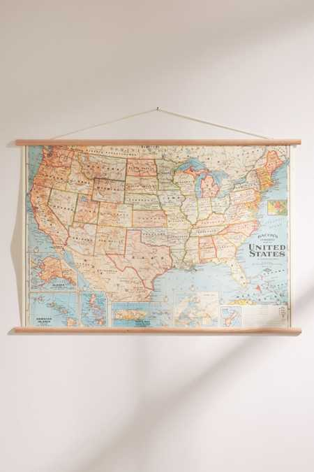 Hanging Vintage USA Map
