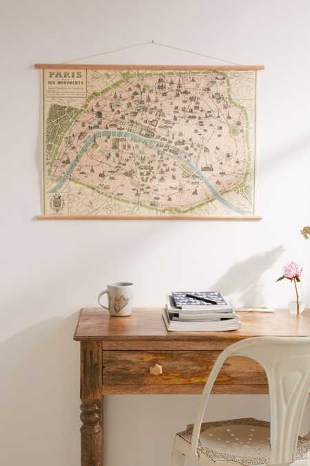Hanging Vintage Paris Map