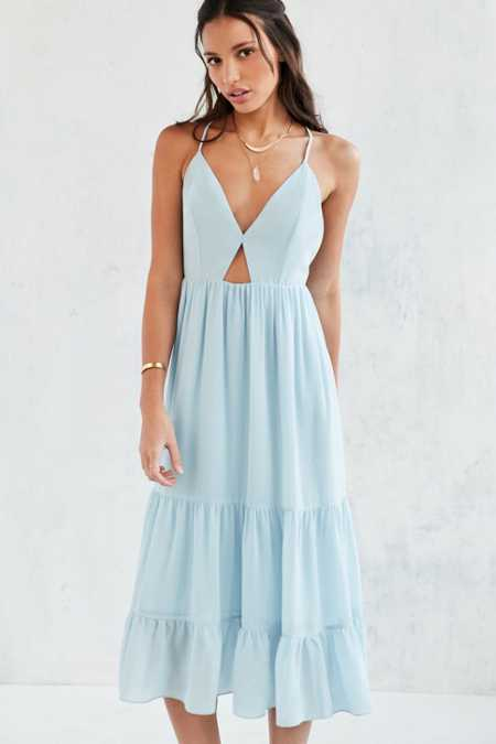 Kimchi Blue Tiered Cutout Midi Dress