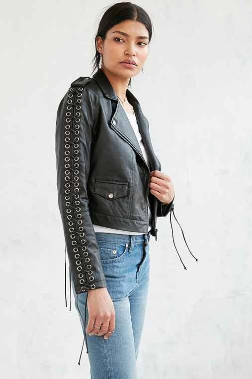 Silence + Noise Aced Laced Vegan Leather Moto Jacket,BLACK,M