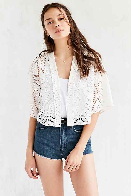 Ecote Embroidered Englaise Kimono Jacket,WHITE,M/L