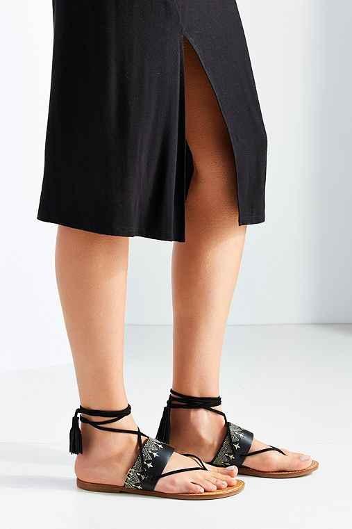 Soludos Flat Lace-Up Sandal,BLACK,6