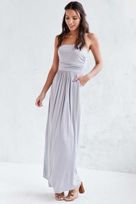 Kimchi Blue Strapless Ruched Knit Maxi Dress