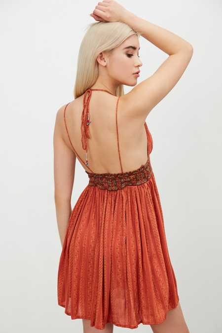 Ecote Gauze Halter Mini Dress