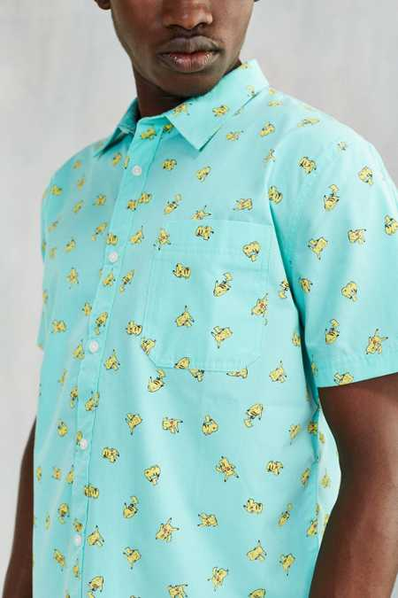 Pikachu Print Short-Sleeve Button-Down Shirt