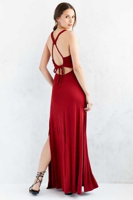 Ecote Braided Strap Knit Maxi Dress