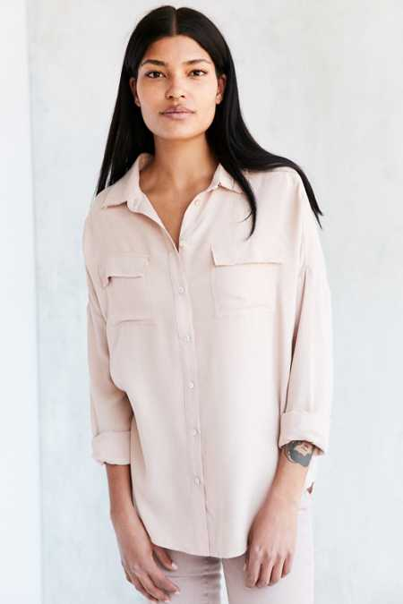 Ecote Blake Frayed Button-Front Shirt
