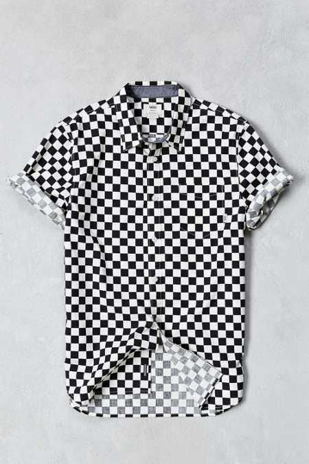 Vans Checkerboard Print Short-Sleeve Button-Down Shirt