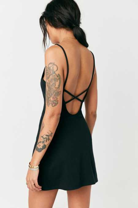 BDG Ribbed Knit Strappy-Back Mini Dress