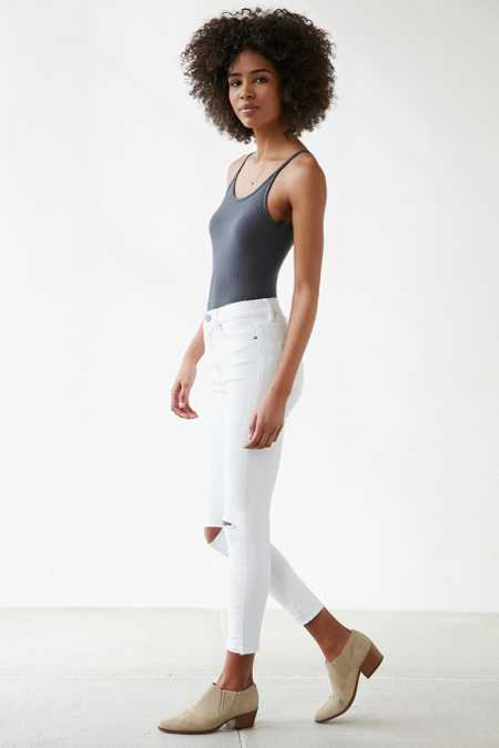 BDG Twig High-Rise Crop Skinny Jean - White Slash