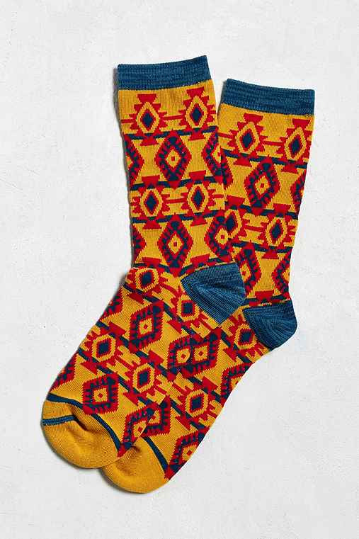 Ikat Print Sock,GOLD,ONE SIZE