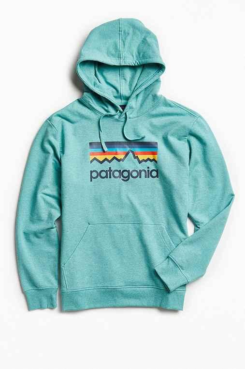 Patagonia Line Logo Hoodie Sweatshirt,DARK TURQUOISE,S