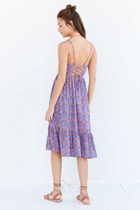 Ecote Printed Tiered Midi Dress