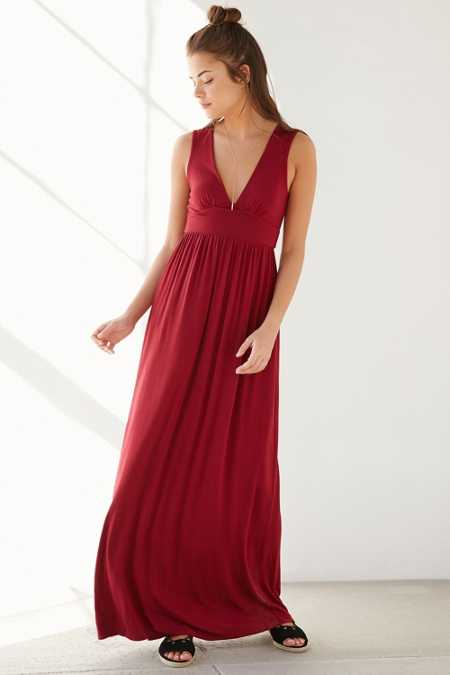 Ecote Deep-V Empire Waist Maxi Dress