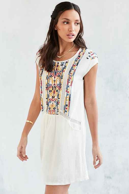 See U Soon Embroidered Shift Dress,CREAM,S