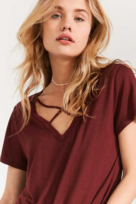 Project Social T Karlie Cross-Front Deep-V Tee
