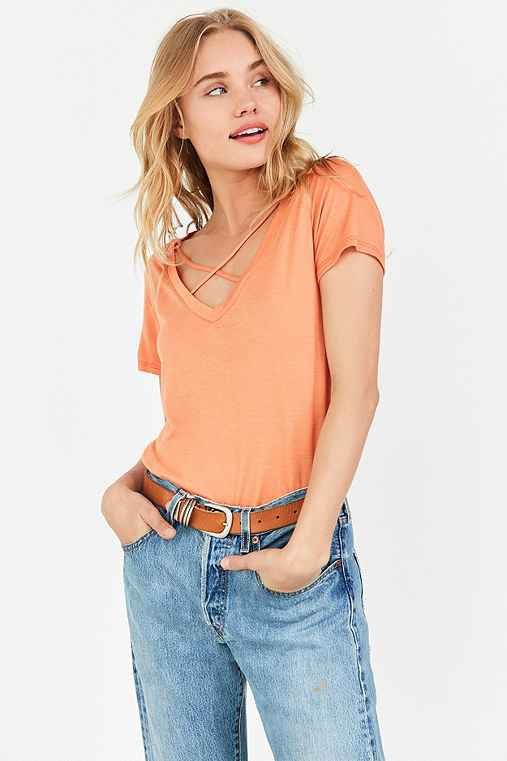 Project Social T Karlie Cross-Front Deep-V Tee,ORANGE,XS