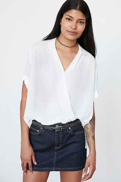 Silence + Noise High/Low Surplice Tee Blouse,WHITE,M
