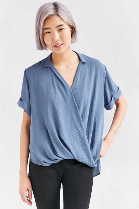 Silence + Noise High/Low Surplice Tee Blouse