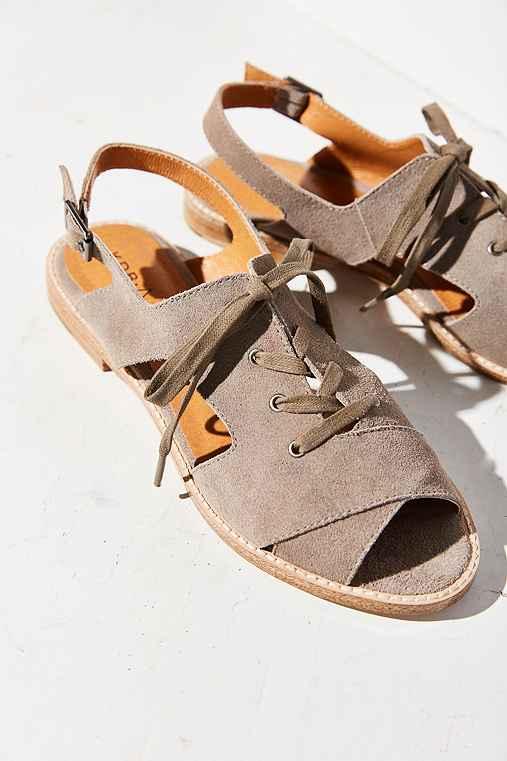 Kelsi Dagger Brooklyn Silverlake Lace-Up Sandal,GREY,10