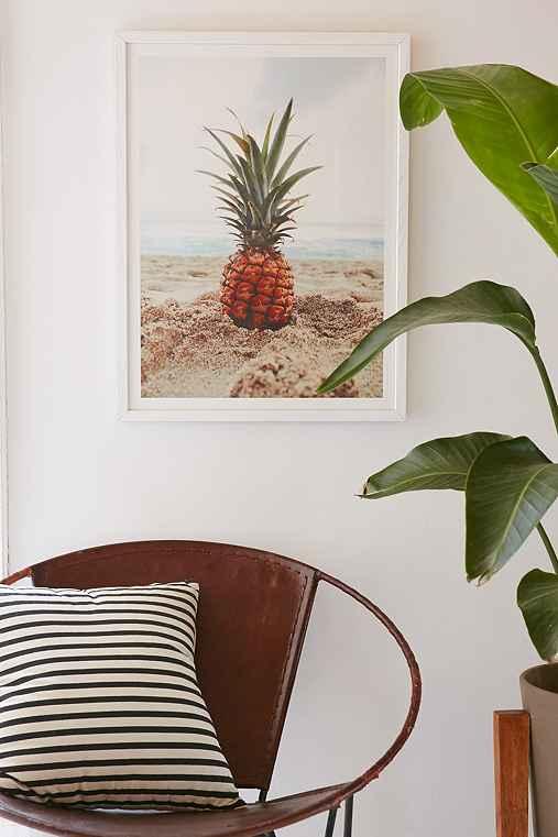 Kat Gaskin Salty Pineapple Art Print,WHITE WOOD FRAME,13X19