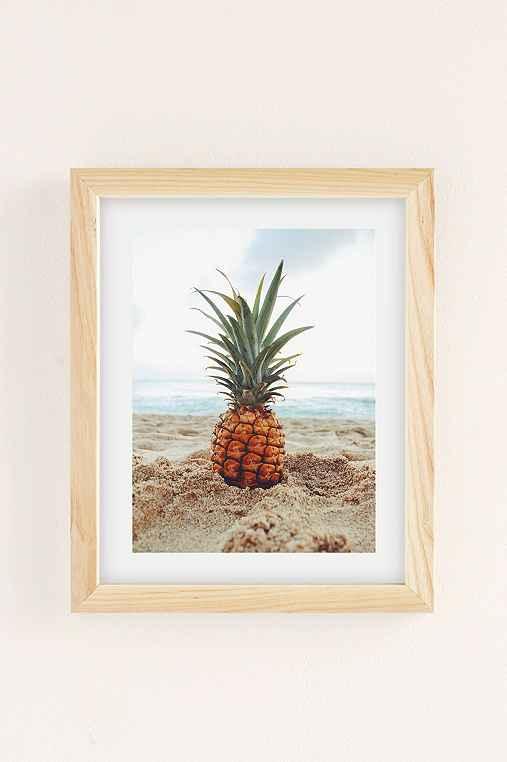 Kat Gaskin Salty Pineapple Art Print,NATURAL WOOD FRAME,13X19