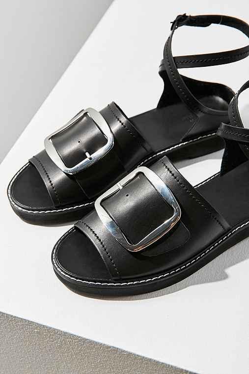 Marion Buckle Ankle Wrap Sandal,BLACK,6