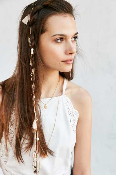 Suede Tassel + Charm Braid Clip Extension