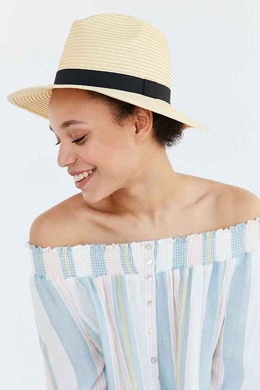 BDG Straw Panama Hat,NEUTRAL,ONE SIZE