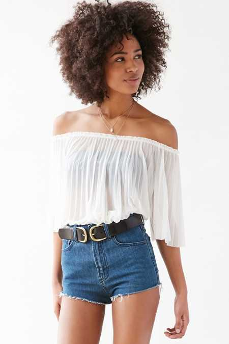 Kimchi Blue Amelia Pleated Chiffon Off-The-Shoulder Top