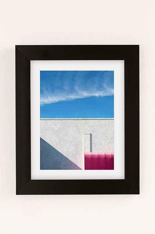 George Byrne Pink & White #2 Art Print,BLACK MATTE FRAME,30X40