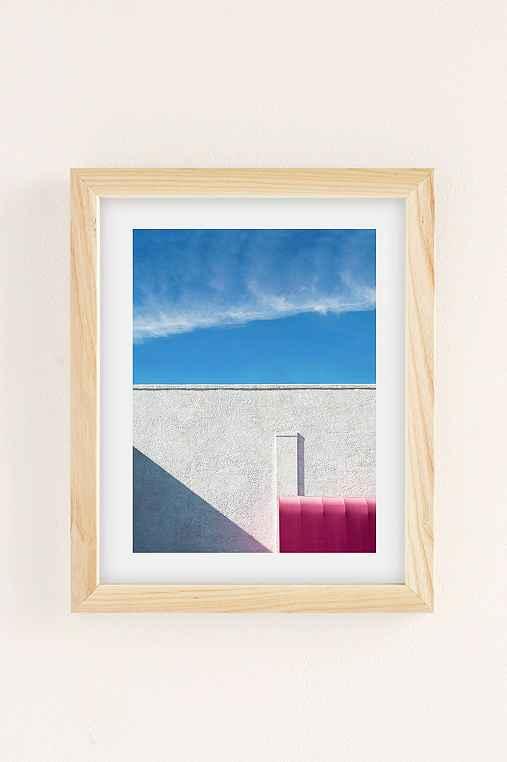 George Byrne Pink & White #2 Art Print,NATURAL WOOD FRAME,13X19