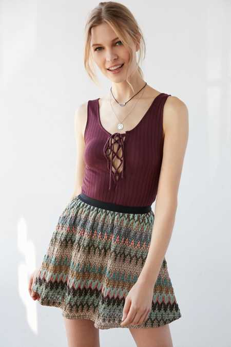 Ecote San Jose Flame-Stitch Mini Skirt