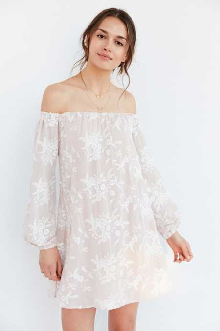 Ecote Embroidered Off-The-Shoulder Mini Swing Dress