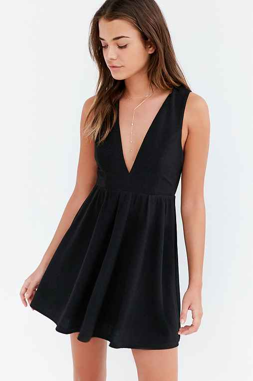 Lucca Couture Plunging Textured Fit + Flare Dress,BLACK,M