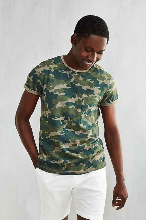 Feathers Printed Roll Sleeve Tee,GREEN MULTI,XS