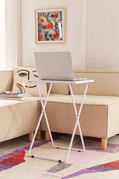 Metal Folding Tray Table,WHITE,ONE SIZE