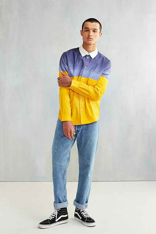 CPO Colorblock Contrast Collar Long-Sleeve Button-Down Shirt,NAVY,XL