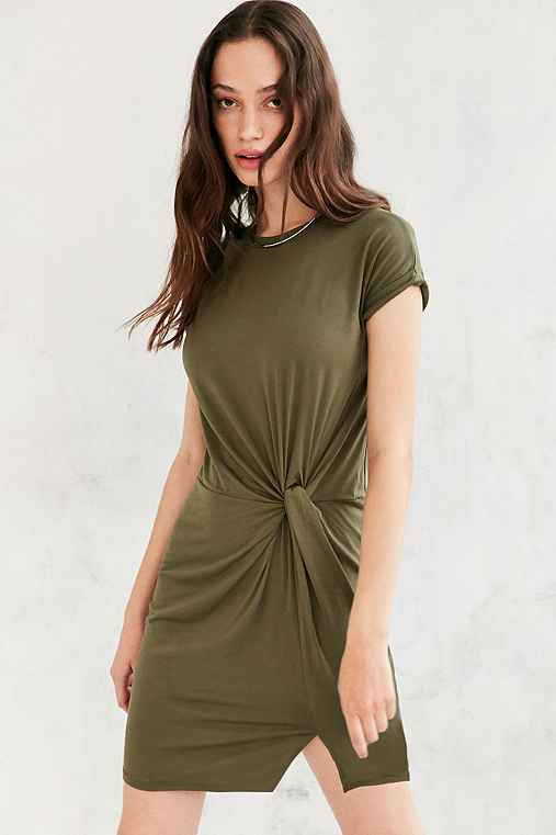 Silence + Noise Side Knot T-Shirt Dress,OLIVE,XS