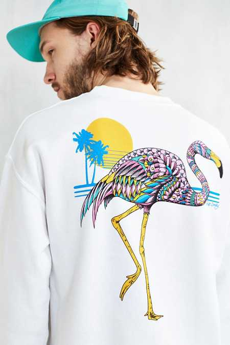 Riot Society Ornate Flamingo Crew Neck Sweatshirt