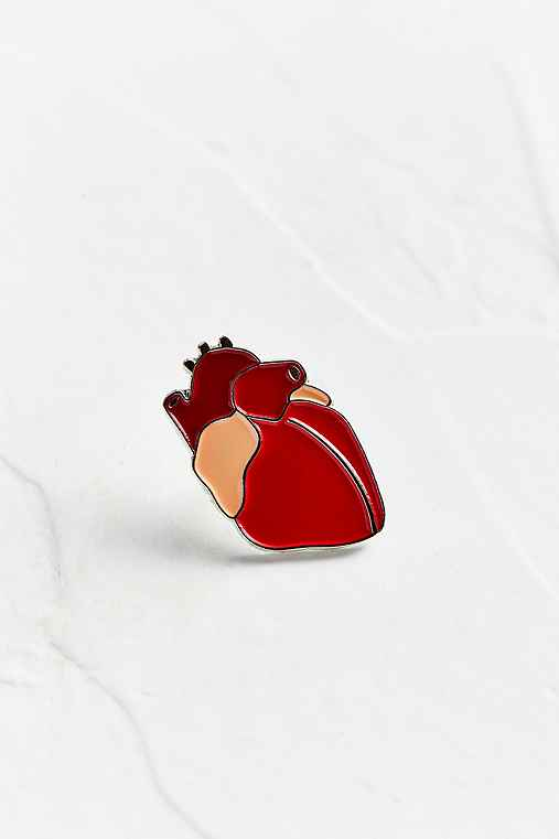 VERAMEAT Heart Pin,RED,ONE SIZE