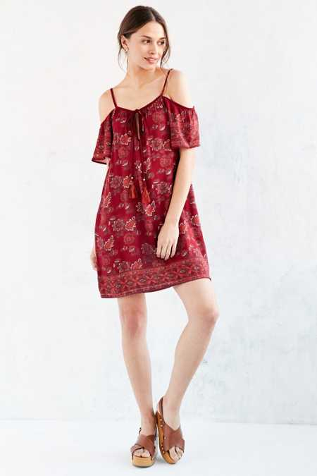 Ecote Scarf Print Cold-Shoulder Mini Dress