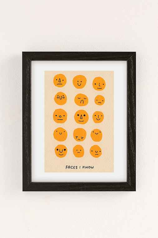 Hiller Goodspeed Faces I Know Art Print,BLACK WOOD FRAME,13X19