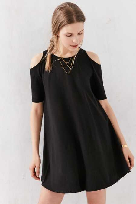 Silence + Noise Cold Shoulder Knit Frock Dress