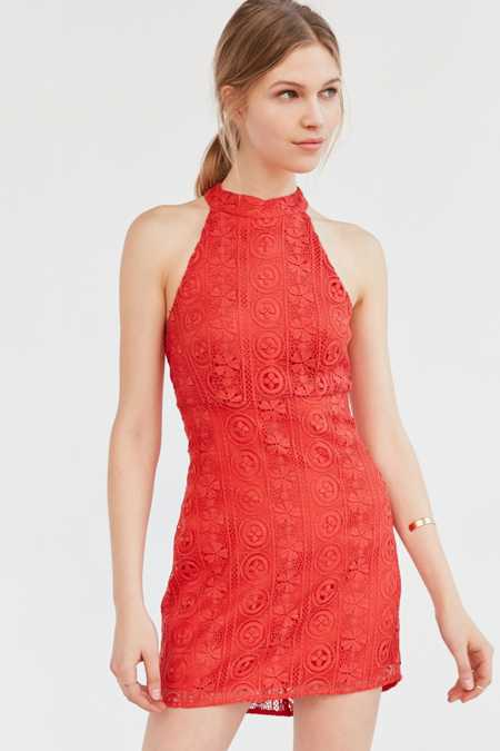 Line + Dot Promenade Halter Bodycon Dress
