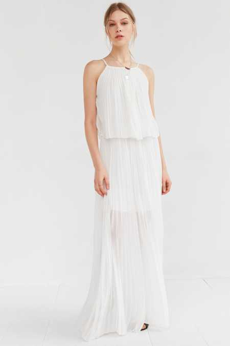 Line + Dot Amelie Pleated Overlay Maxi Dress