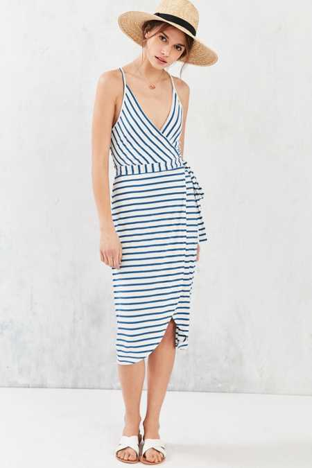 Silence + Noise Racerback Wrap Midi Dress