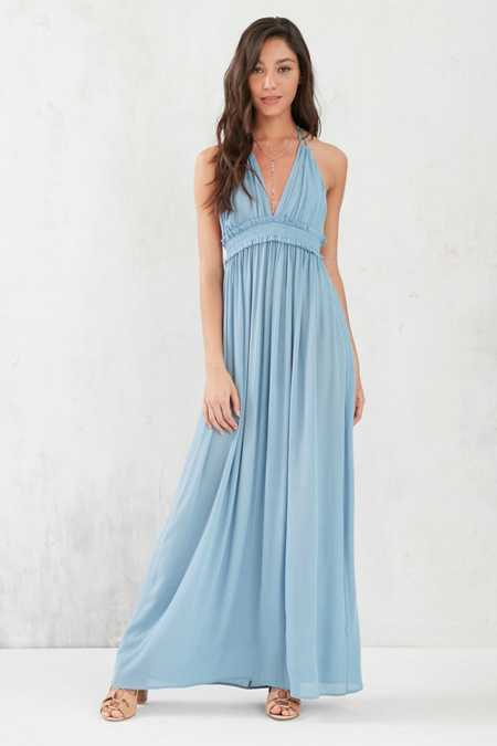 Ecote Gauzy Plunging Halter Maxi Dress